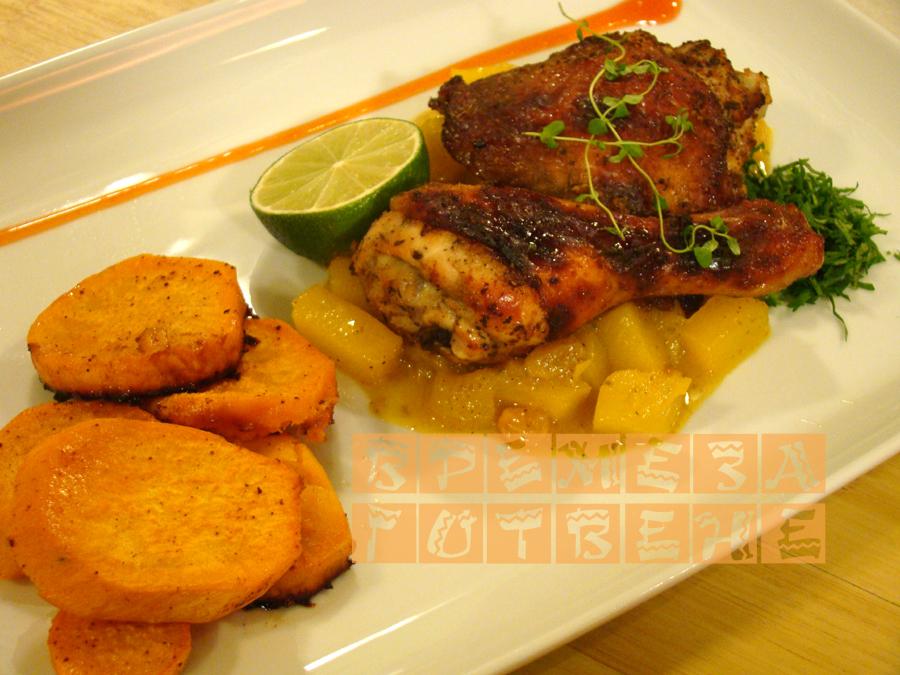 Печено пиле със сладки картофи и манго чътни