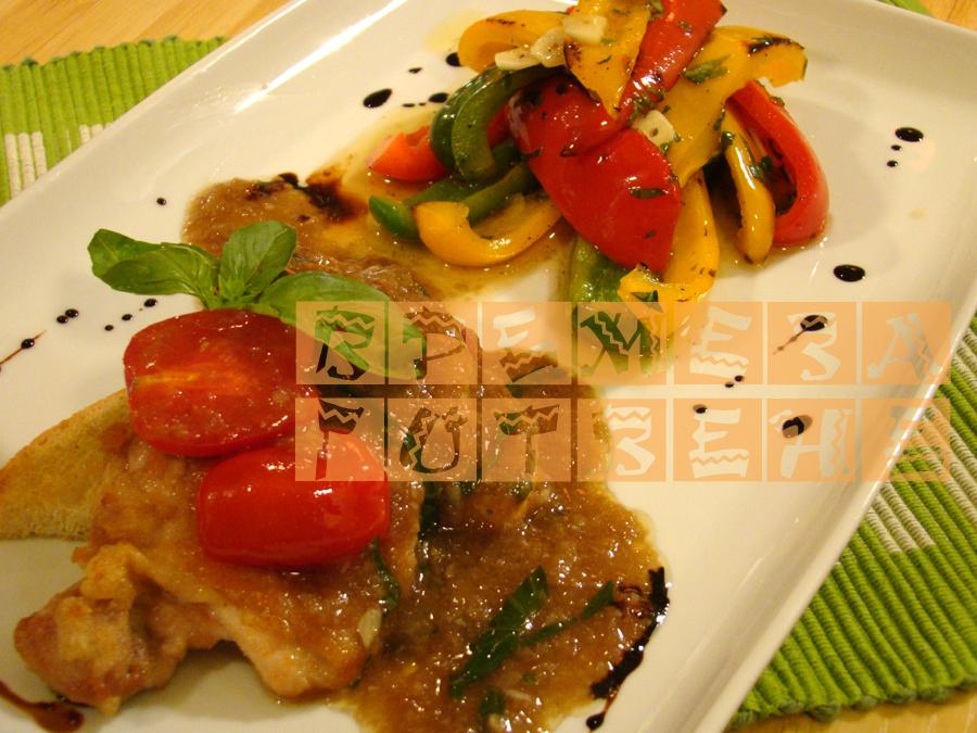Пилешки пържоли с балсамов оцет и босилек