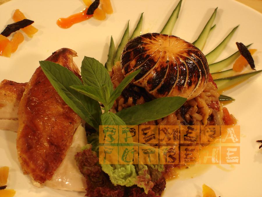 Пълнено пиле по бесарабски със зеленчуци,гъби, сушени плодове и ориз