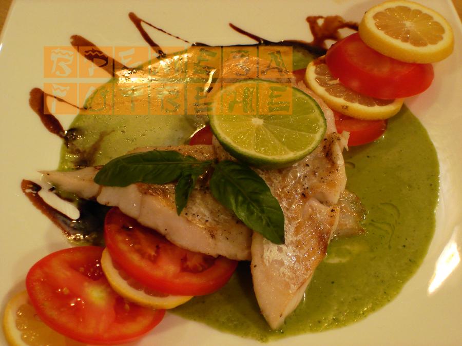 Бяла риба с босилеков сос