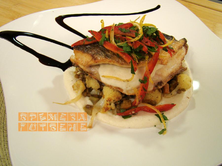 Печена риба с леща и карфиол