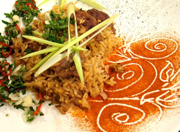 Тепси-кебап с праз и ориз