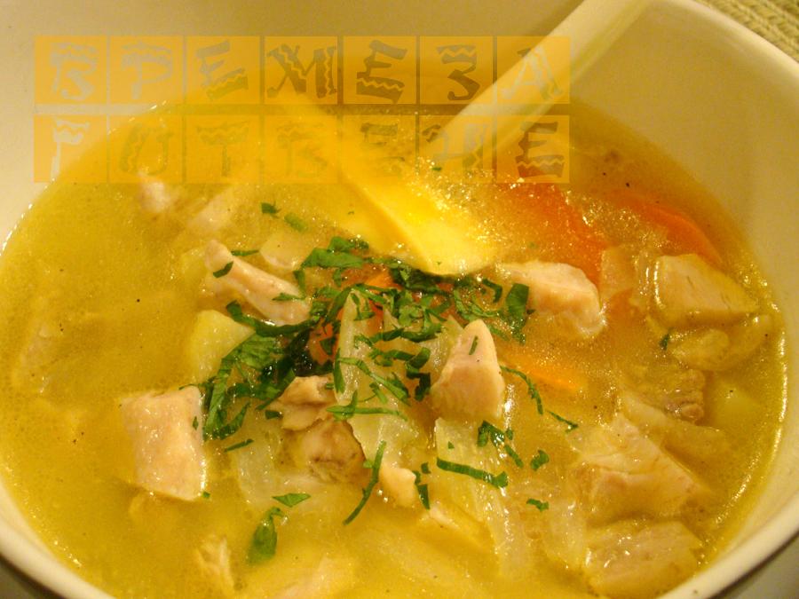 Пилешка супа със сирене