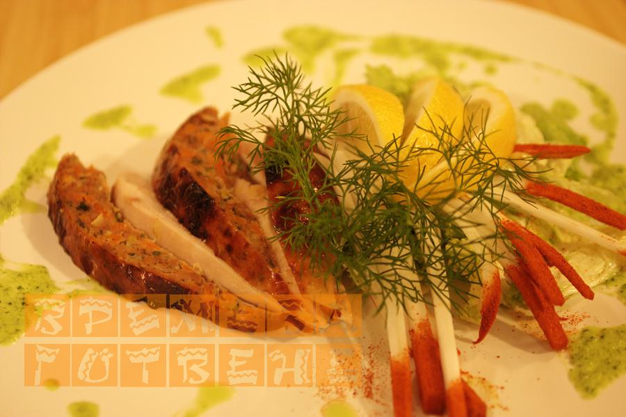 Пълнено пиле с кайма и зеленчуци по ориенталски